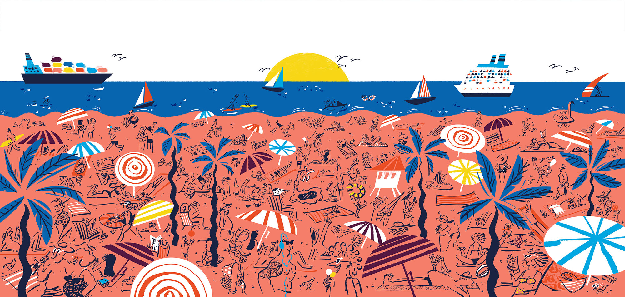 Mural illustration for Las Olas Store in Fort Lauderdale of Warby Parker by Lalalimola - A beach scene