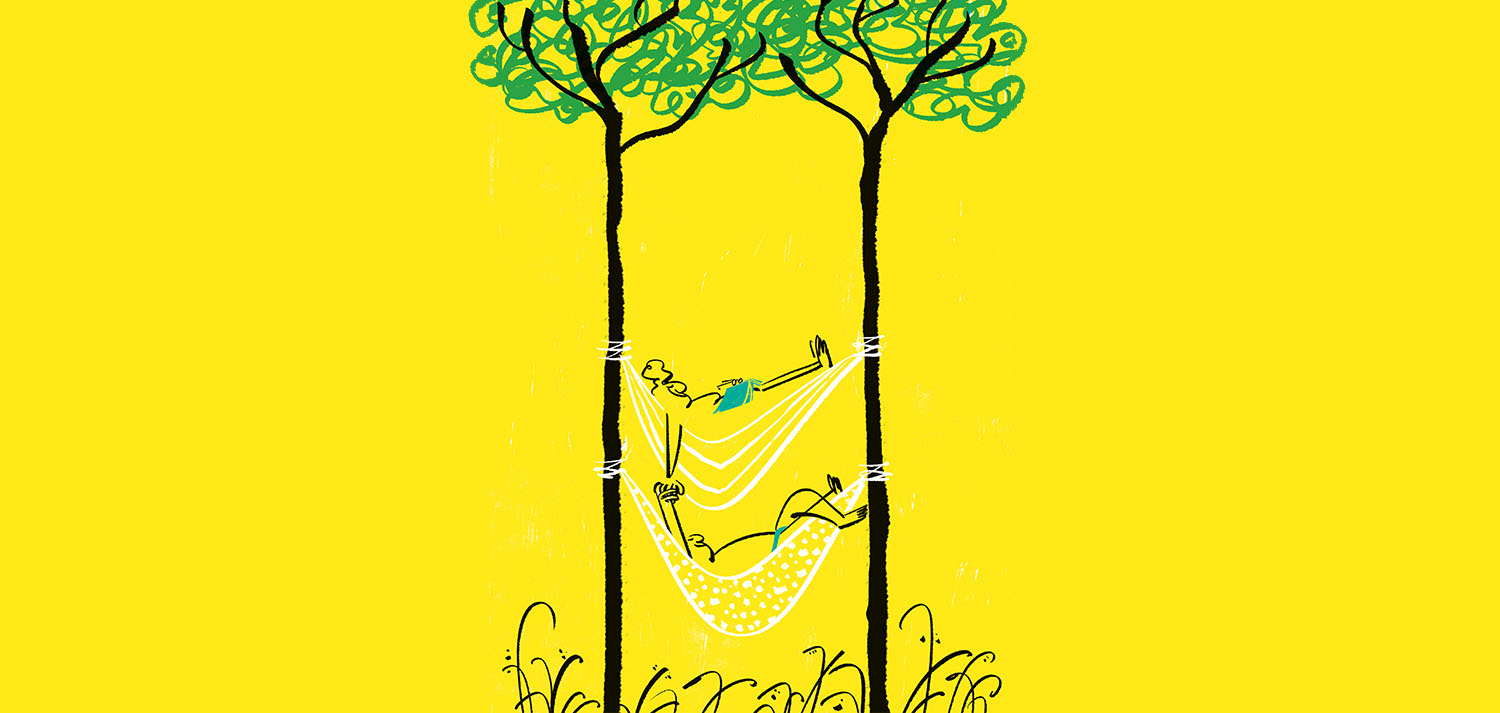 Illustration for Guía Hedonista 2020 by Lalalimola - A couple resting on a hammock